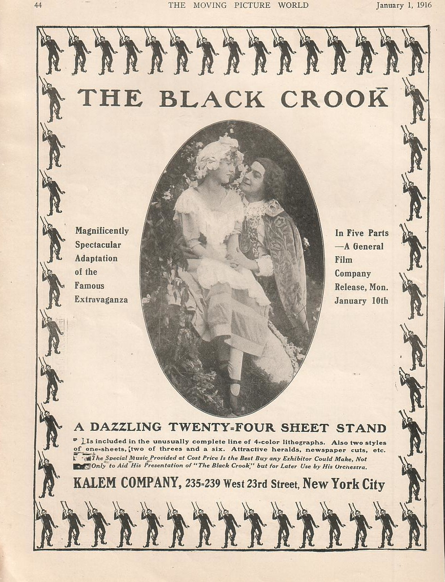 "Advertisement for the 1916 silent movie version of ""The Black Crook."""