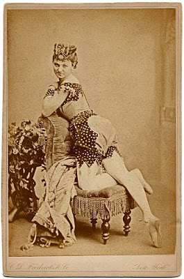 "Dancer from ""The Black Crook"" advertising herself in a 'shocking' pose. (Photo: Archive of Kurt Gänzl)"