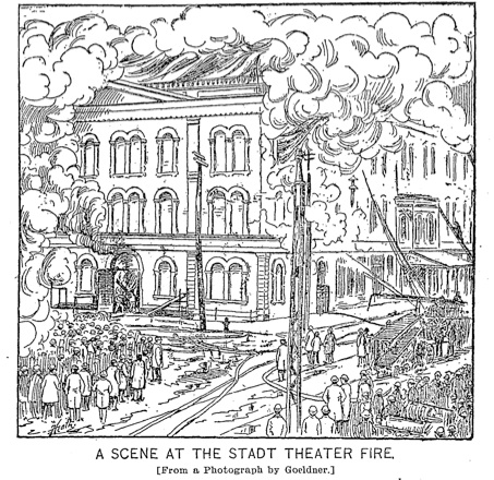 Fire destroys the Neues Deutsches Stadt Theater in 1895. Milwaukee Sentinel, January 16, 1895. (Collection Alan Lareau)