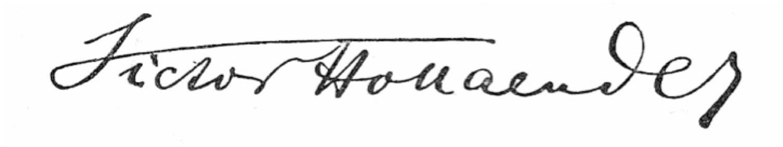 Victor Hollaender's signature. (Archive Alan Lareau)