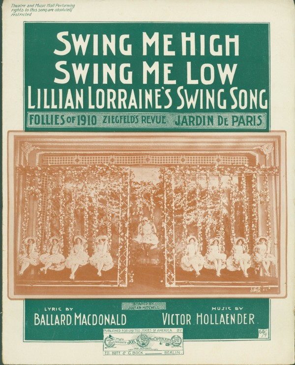"Sheet music for ""Swing Me High, Swing Me Low."" (Collection Alan Lareau)"