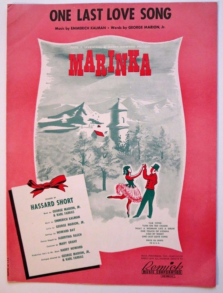 "Sheet music cover for ""One Last Love Song"" from ""Marinka."""