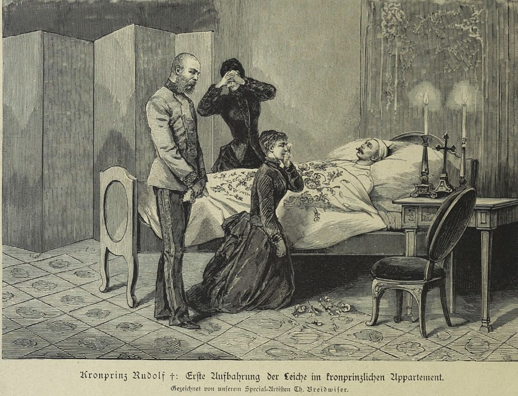 The emperor and empress at the deathbed of crown prince Rudolph.
