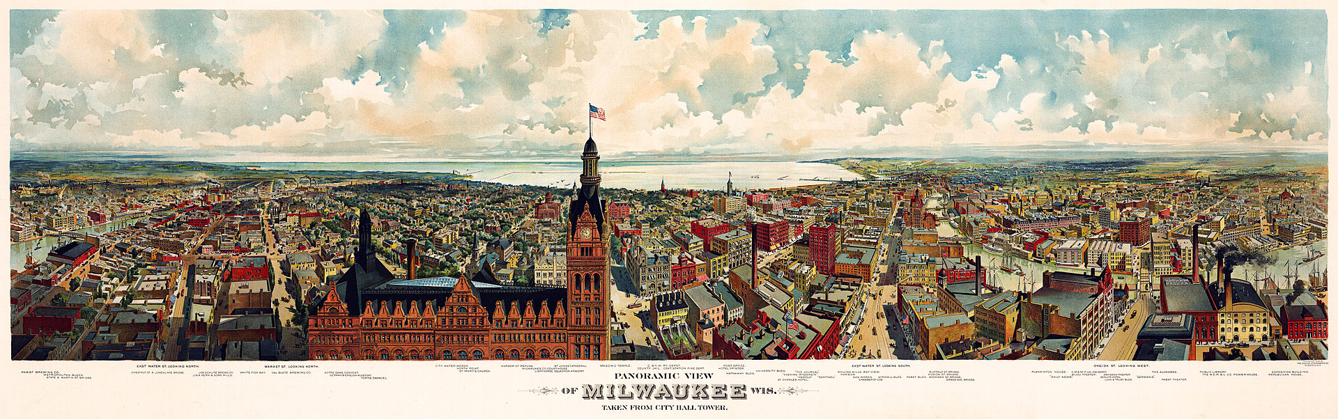Panorama map of Milwaukee, with a view of the City Hall tower, 1898. (Library of Congress's Prints and Photographs division)