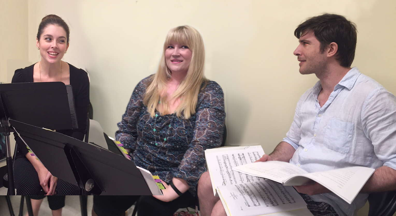 "At rehearsals for ""Princess Pat"" in NYC 2017: Sarah Caldwell Smith (as Grace Holbrook), Angela Christine Smith (as Princess Pat) and Brian Kilday (as Darrow). (Photo: VHRP Live!)"