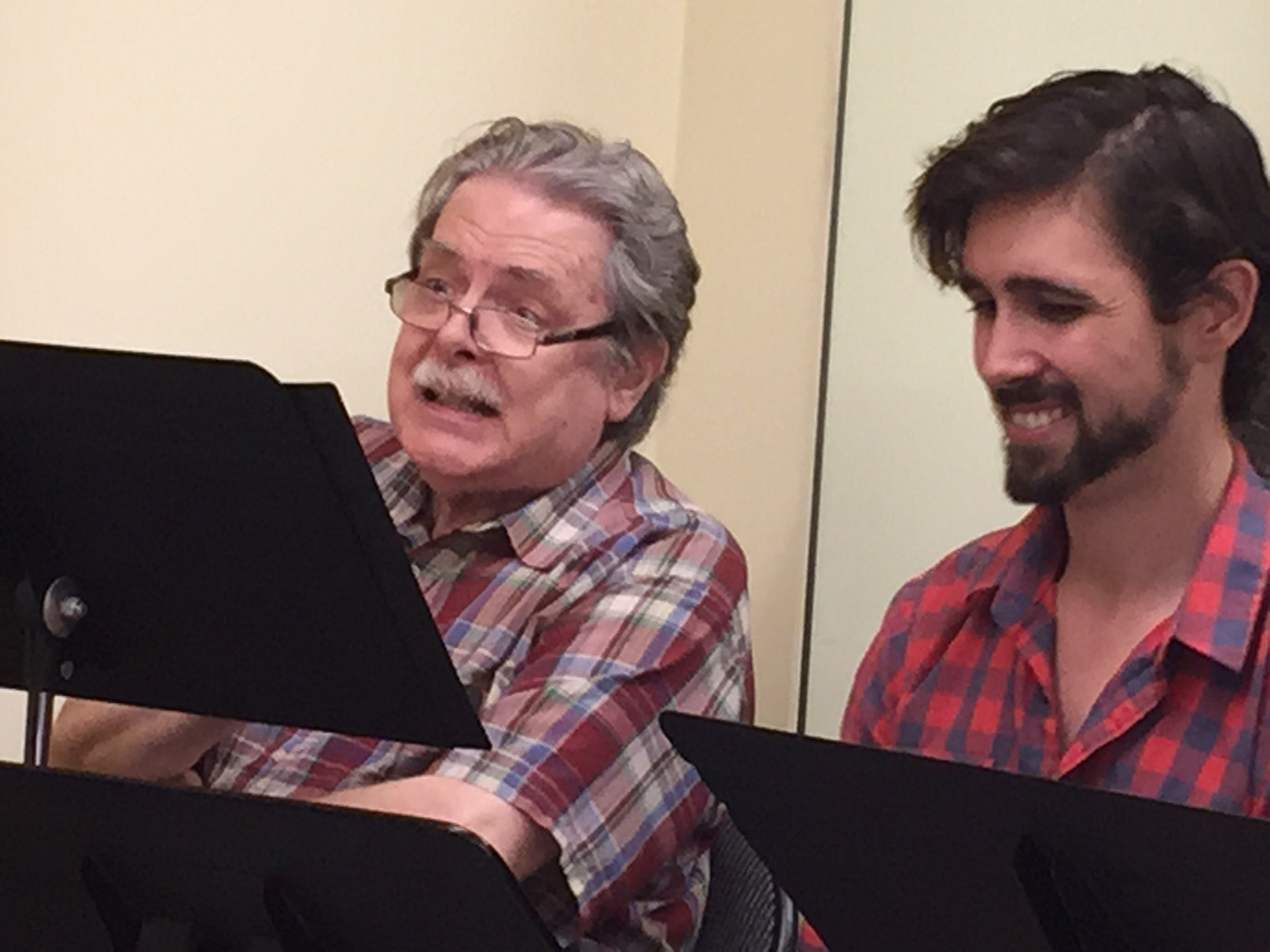 "David Seatter (as Anthony Schmalz Sr), with Drew Bolander (as ""Smith,"" aka Anthony Shmalz, Jr) during rehearsals for ""Princess Pat."" (Photo: VHRP Live!)"