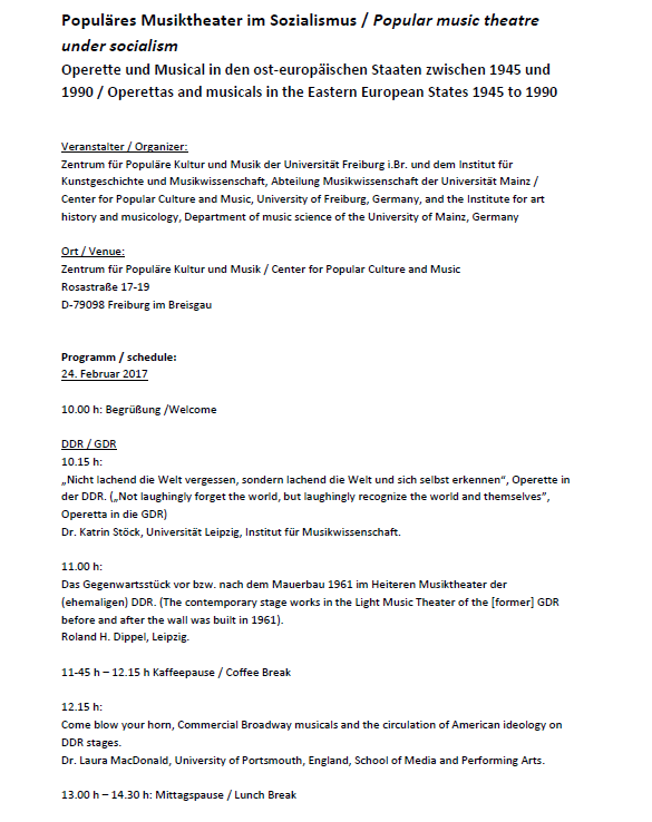"List of talks at the conference ""Populäres Musiktheater im Sozialismus."" (1)"