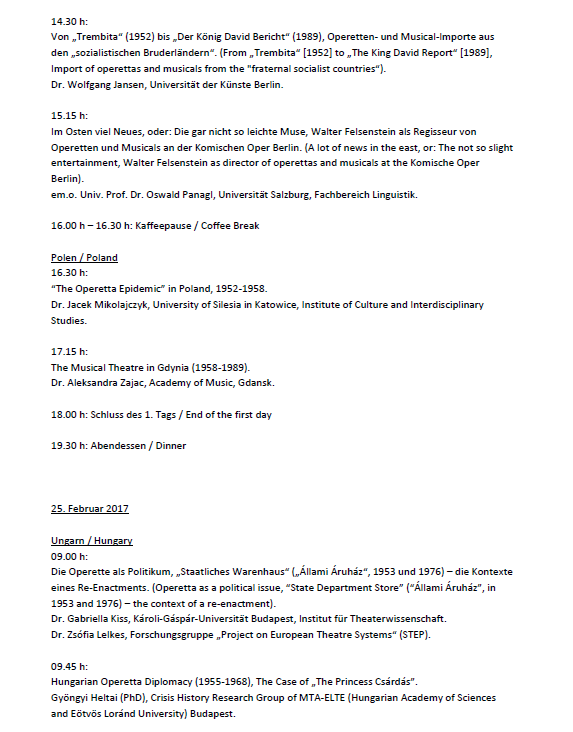 "List of talks at the conference ""Populäres Musiktheater im Sozialismus."" (2)"
