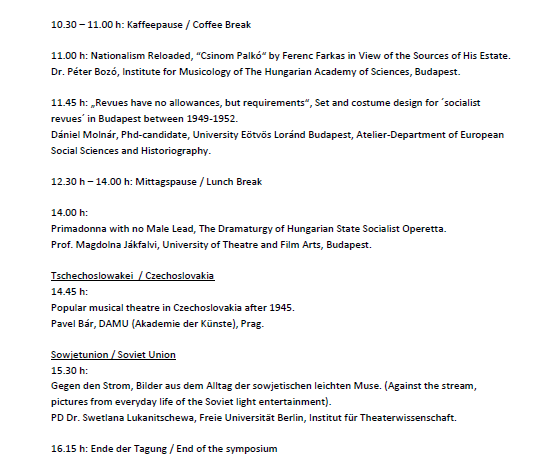 "List of talks at the conference ""Populäres Musiktheater im Sozialismus."" (3)"