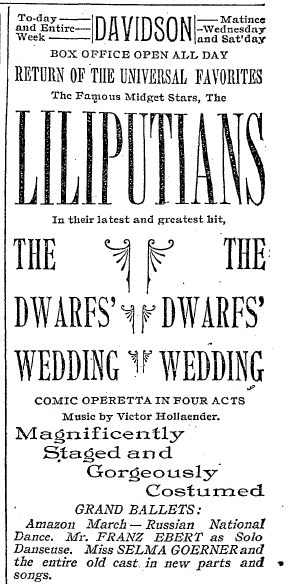 "Advertisement for ""The Dwarf's Wedding."" ""Milwaukee Sentinel,"" 3 April 1892. (Collection Alan Lareau)"