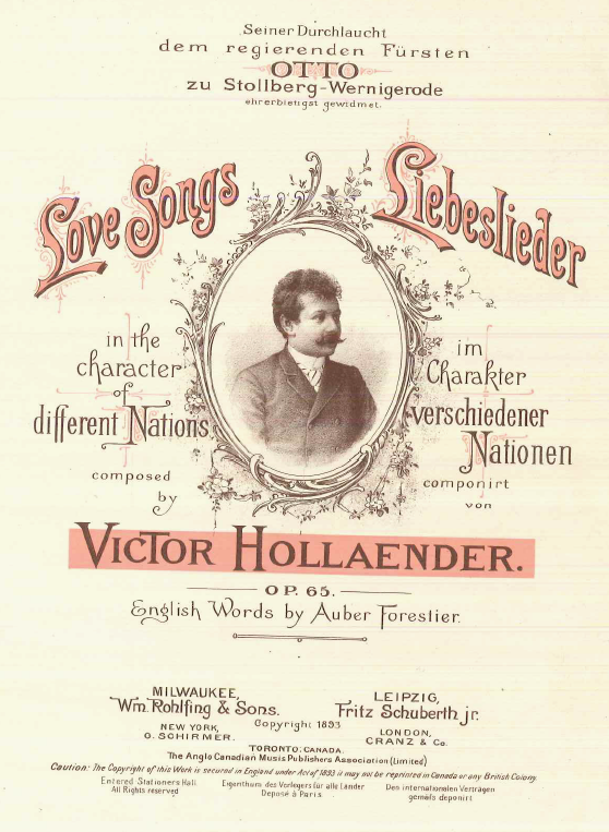 "Cover of ""Love Songs/Liebeslieder."" (Collection Alan Lareau)"
