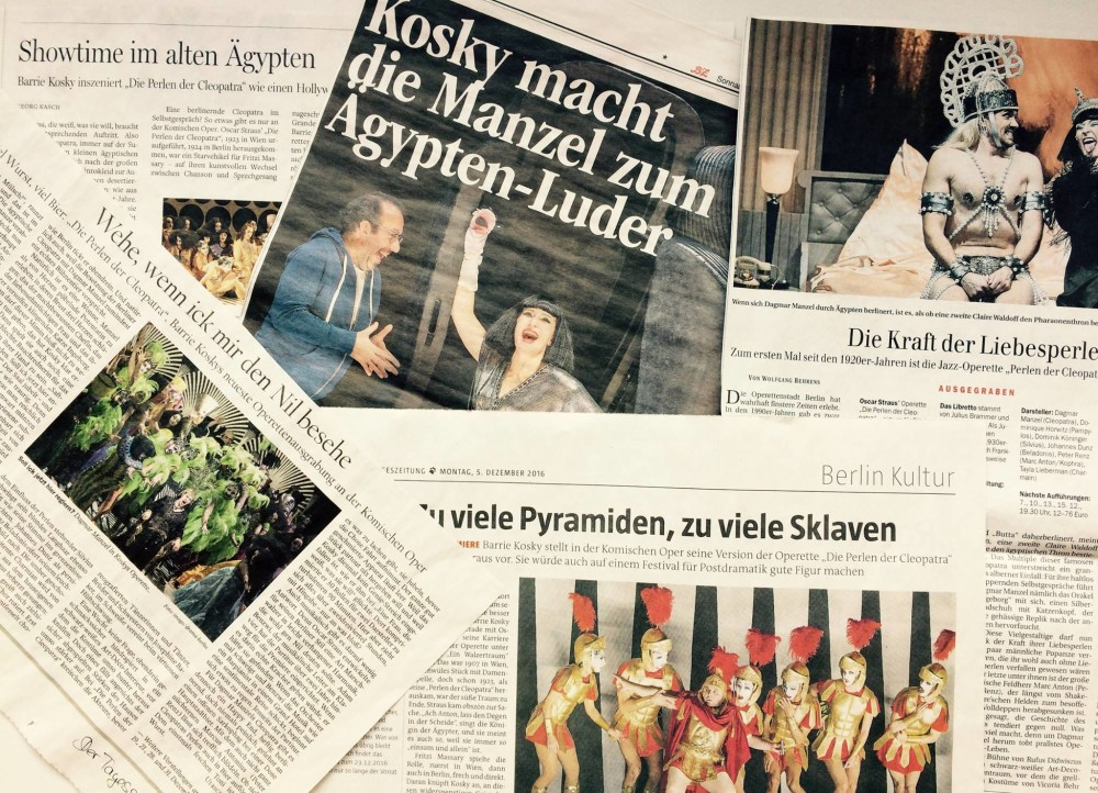 "The headlines for ""Perlen der Cleopatra"" in 2016. (Photo: Komische Oper Berlin)"