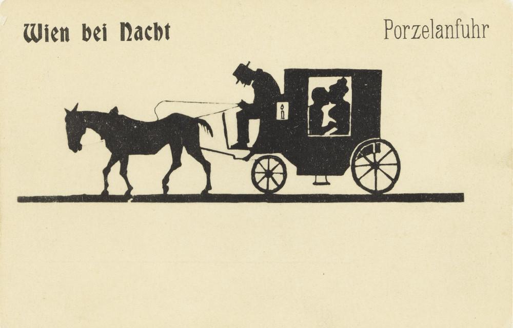 """Postcard """"Wien bei Nacht – Porzelanfuhr,"""" 1900. (Photo: Sammlung Peter Payer)"""