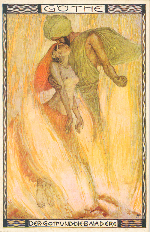 "Illustration by Erich Schütz for Goethe's poem ""Der Gott und die Bajadere."""