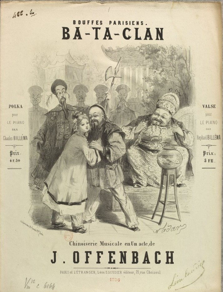 "Sheet music cover for Offenbach's ""Ba-Ta-Clan."""