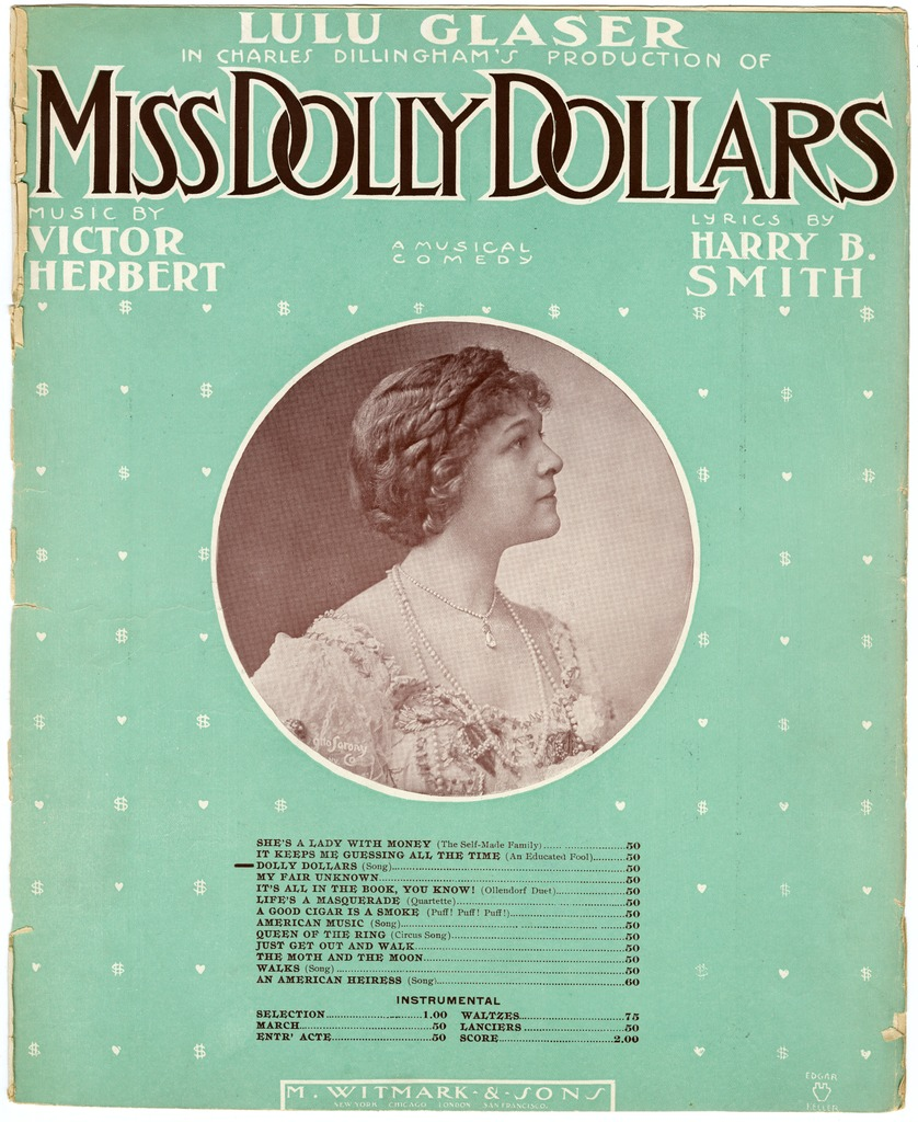 "Sheet music cover for Victor Herbert's ""Miss Dolly Dollars"" (1905)."