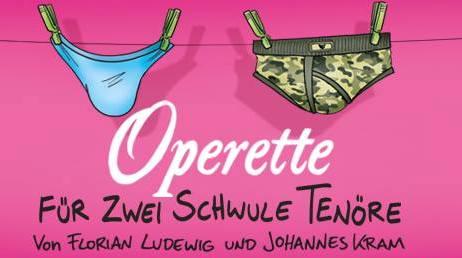 """Poster for the """"Operette für zwei schwule Tenöre"""" by Florian Ludewig and Johanns Kram."""