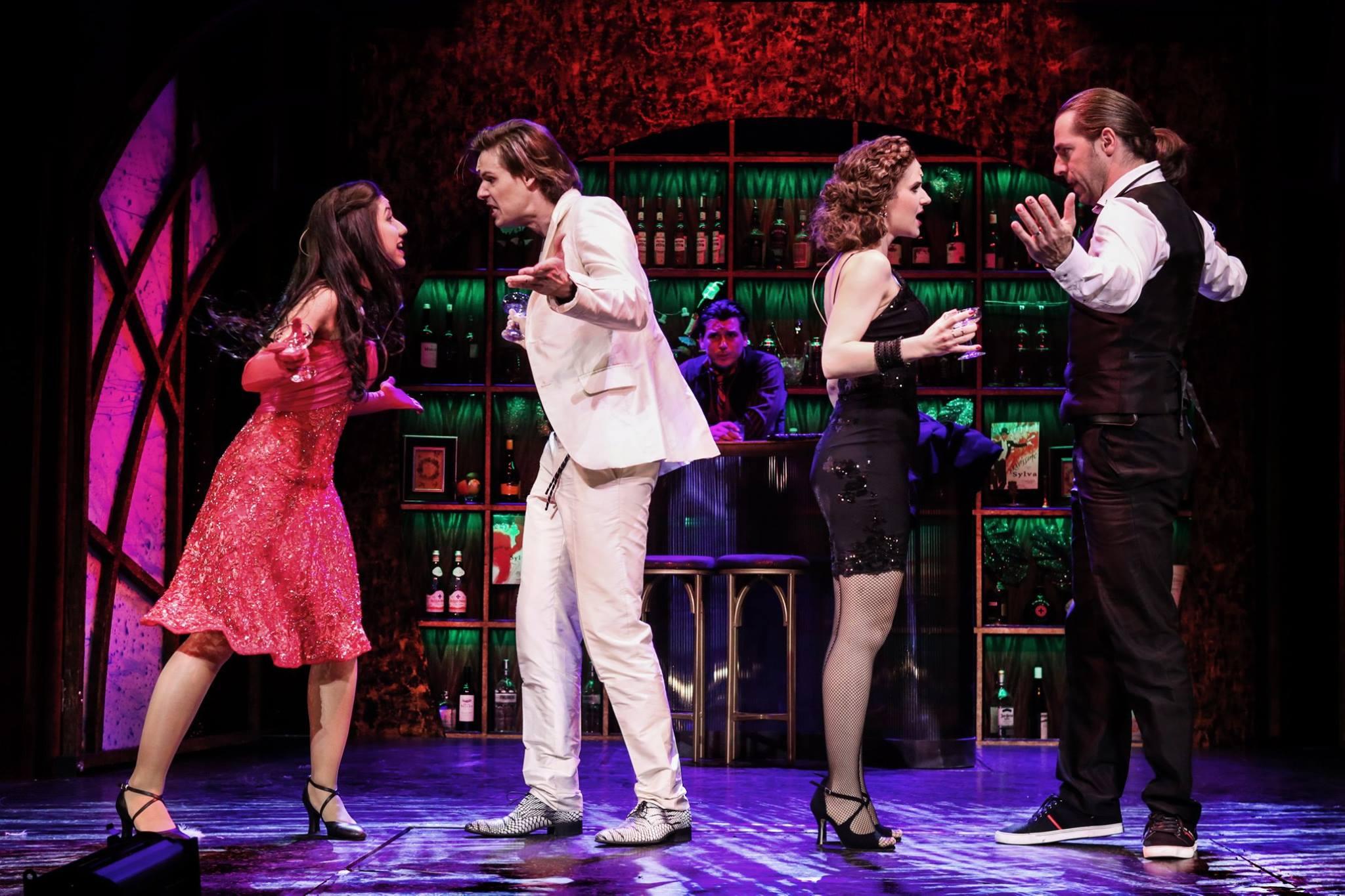 """Kardffy Aisha, Barkóczi Sándor, Lévai Enikő and György-Rózsa Sándor in """"The Riviera Girl."""" (Photó: Gordon Eszter/Budapesti Operettszínház)"""