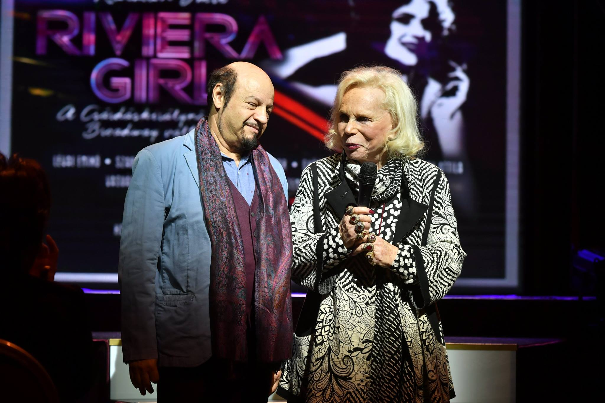 Kalman's daughter Yvonne and stage director KERO during the opening night speeches at the new Imre Kálmán Theatre. (Photo: Budapesti Operettszínház)