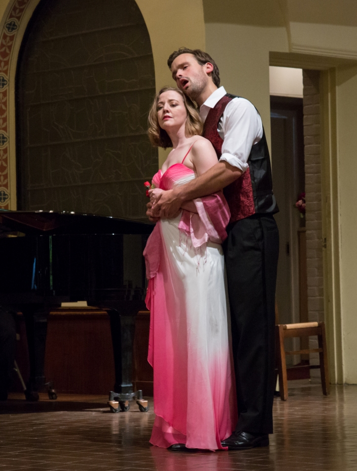 "Joanie Brittingham and Tom Carle singing ""Thine Alone"" from ""Eileen."" (Photo: Jill LeVine)"