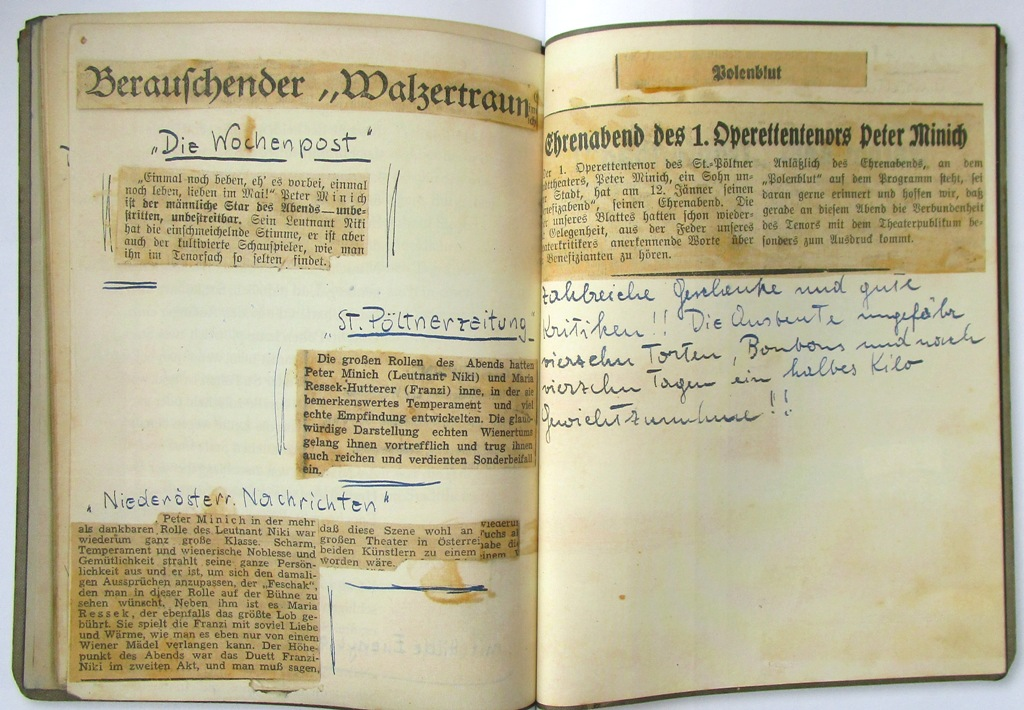 "A double-page from Peter Minich's diary, with reviews. (Photo from the catalogue ""Peter Minich. Ein Leben für die Musik."" Stadtmuseum St. Pölten 2017)"