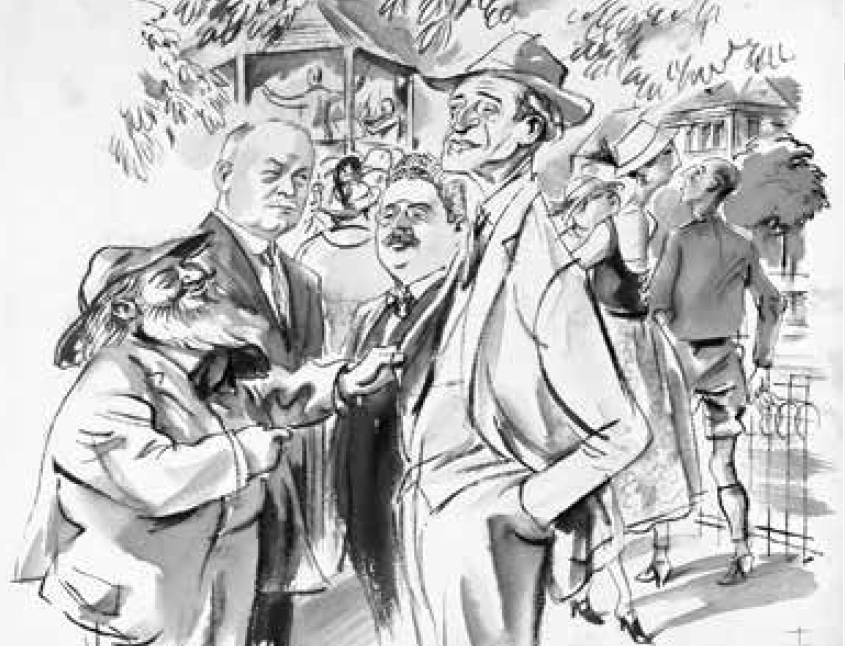 Edmund Eysler, Franz Lehár, Leo Ascher, Oscar Straus in Bad Ischl, drawing by Alfred Gerstenbrand. (Photo: Die Villen von Bad Ischl/Amalthea)