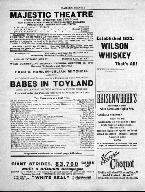 "The cast list for the 1903 ""Babes in Toyland"" at the Majestic Theatre."