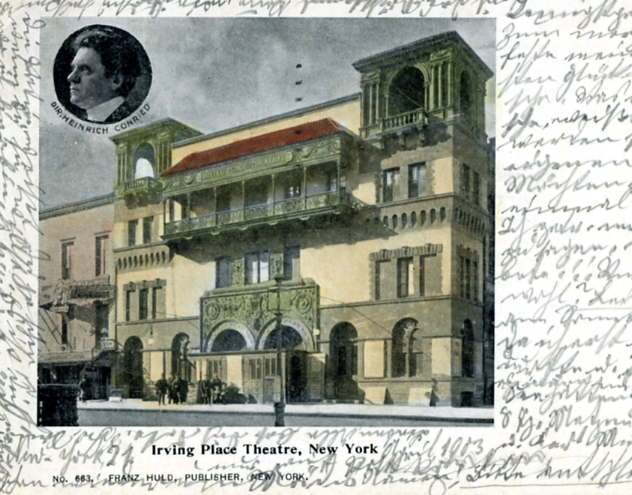Postcard, dated April 1903, showing the Irving Place Theatre in New York.