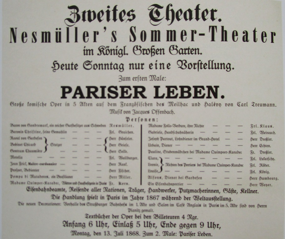 "Playbill for Offenbach's ""Pariser Leben"" in Dresden. (From: Andreas Schwarze's ""Metropole des Vergnügens,"" Sax-Phon Press 2016)"