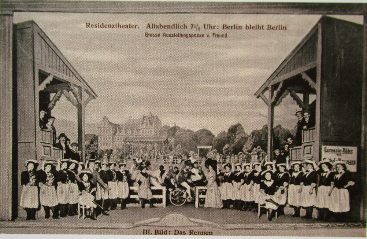 "Scene from the revue ""Berlin bleibt Berlin,"" 1910. (From: Andreas Schwarze's ""Metropole des Vergnügens,"" Sax-Phon Press 2016)"