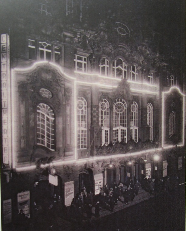 "Facade of the Central Theater Dresden on 1 October, 1936, the night of the premiere of ""Ball der Nationen."" (From: Andreas Schwarze's ""Metropole des Vergnügens,"" Sax-Phon Press 2016)"