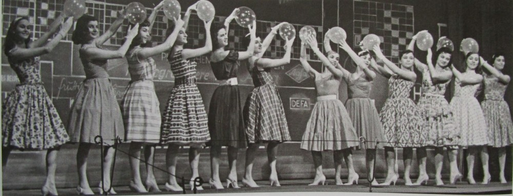 "The ladies of the ballet in ""Messeschlager Gisela,"" at the Staatsoperette Dresden 1961. (From: Andreas Schwarze's ""Metropole des Vergnügens,"" Sax-Phon Press 2016)"