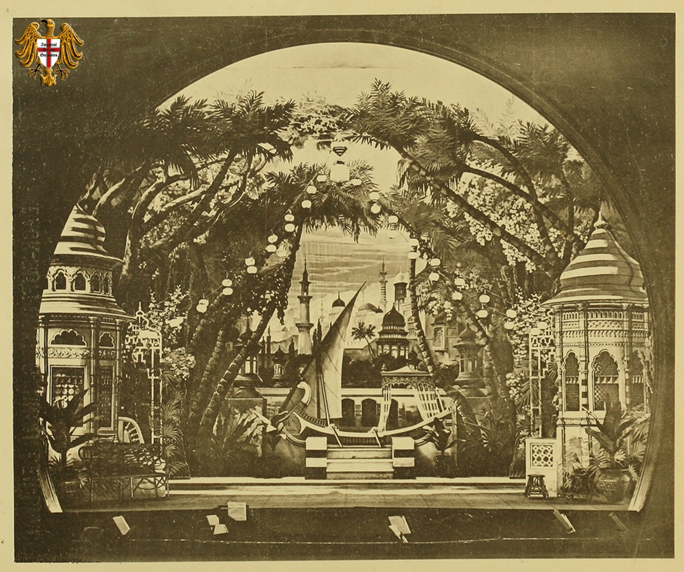 "Act 2, the Garden of Fanfani on the banks of the River Nile. Originally published in ""Historical review of the Boston Bijou Theatre,"" 1884. (Photo: Dario Salvi Collection)"