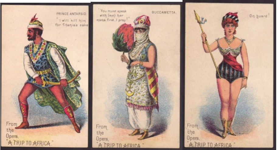 "Promotional trade cards from the 1884 production of ""A Trip to Africa"" at Haverly's Theatre, Philadelphia. (Photo: Dario Salvi Collection)"