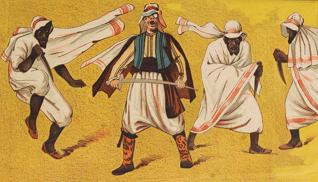 """Pasha Fanfani (center) with Bedouins, on the poster for the 1884 production of """"A Trip to Africa"""" at Haverly's Theatre, Broad Street, Philadelphia. (Photo: Dario Salvi Collection)"""