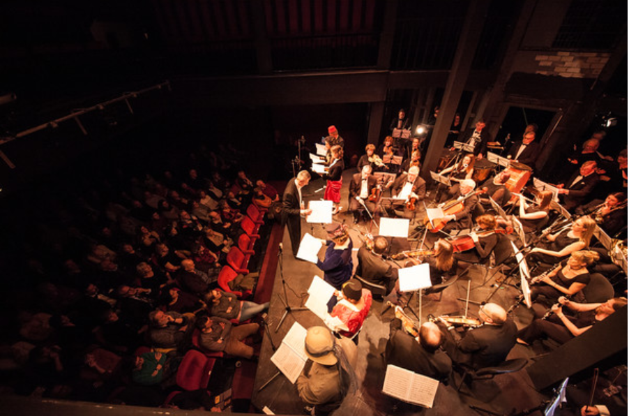 "Dario Salvi conducting the Imperial Vienna Orchestra in a performance of ""A Trip to Africa"" at Maddermarket Theatre, Norwich. (Photo: Mark Stimpson Photography)"