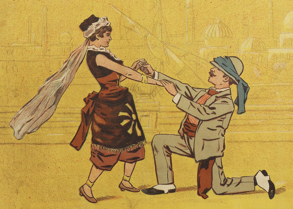 "Tessa and Miradillo, from the poster of ""A Trip to Africa"" for the 1884 production at Haverly's Theatre, Philadelphia. (Photo: Dario Salvi Collection)"