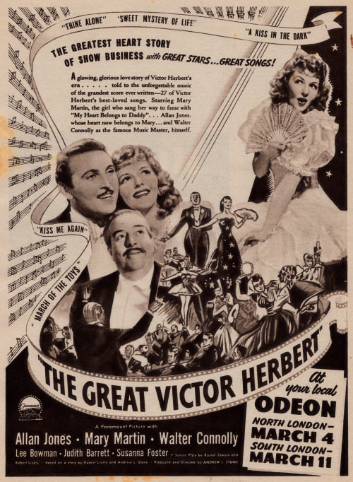 "Advertisement for the movie ""The Great Victor Herbert."""