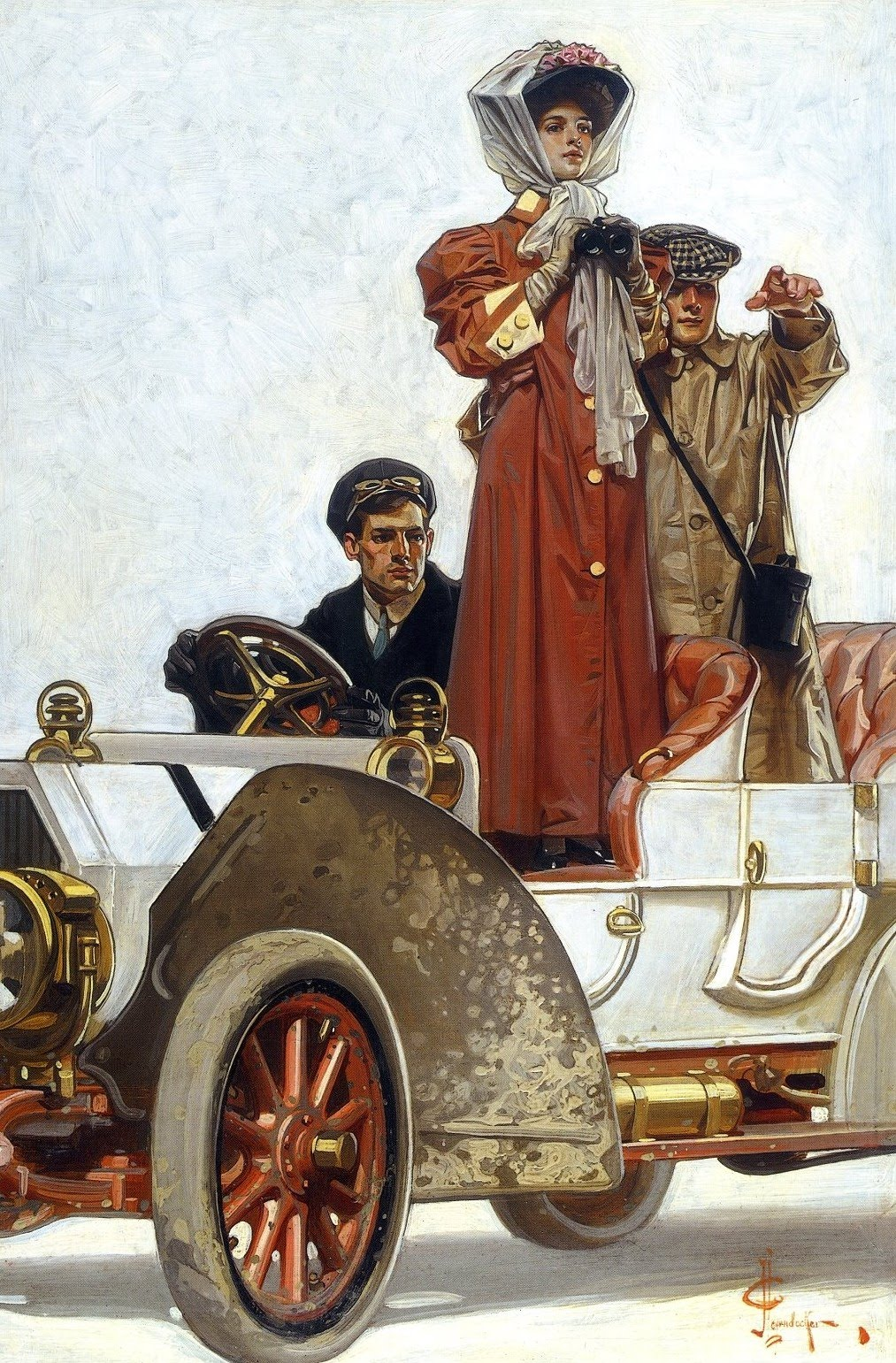 Painting by  J. C. Leyendecker of a chauffeur escorting a lady around.