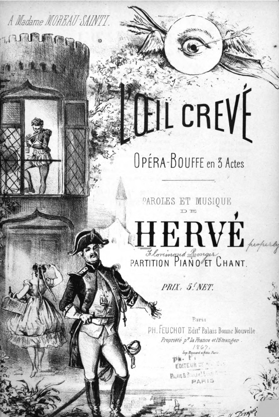"Sheet music cover for Hervé's ""L'Oeil crevé."""
