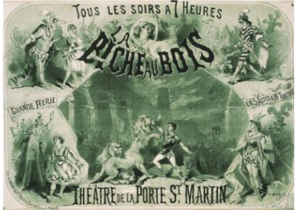 "Jules Chéret's poster for ""La biche au bois"" (The Doe in the Wood), 1866."
