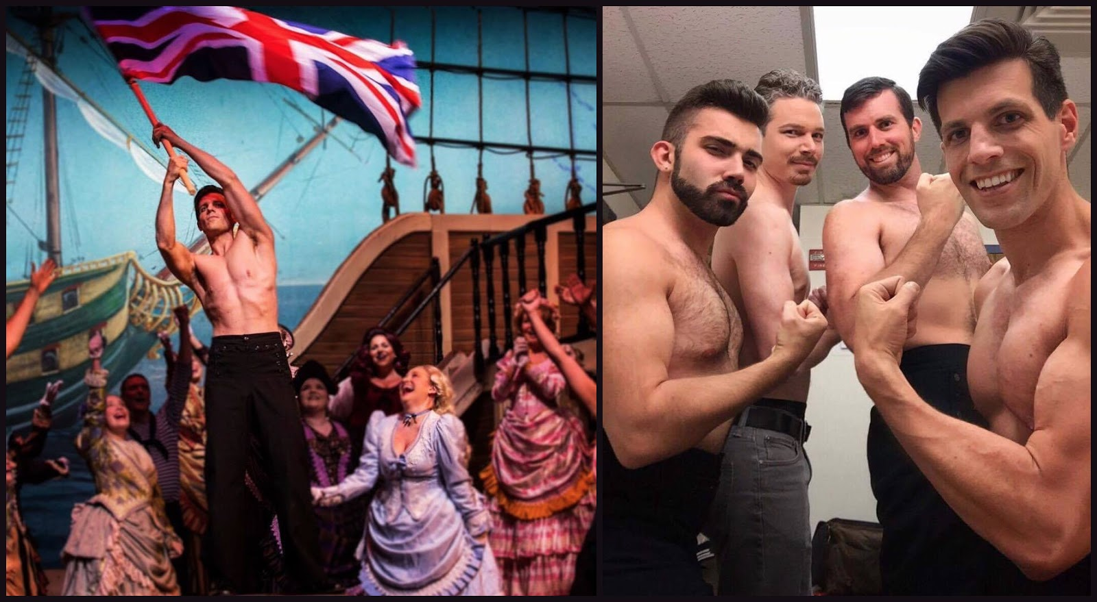 "The crew of the ""HMS Pinafore"" at the Young Vic: (left to right) CJ Hartung, Joshua Hughes, Jeffrey Williams, John Kaneklides, and with flag. (Photo: Barihunks Blog)"