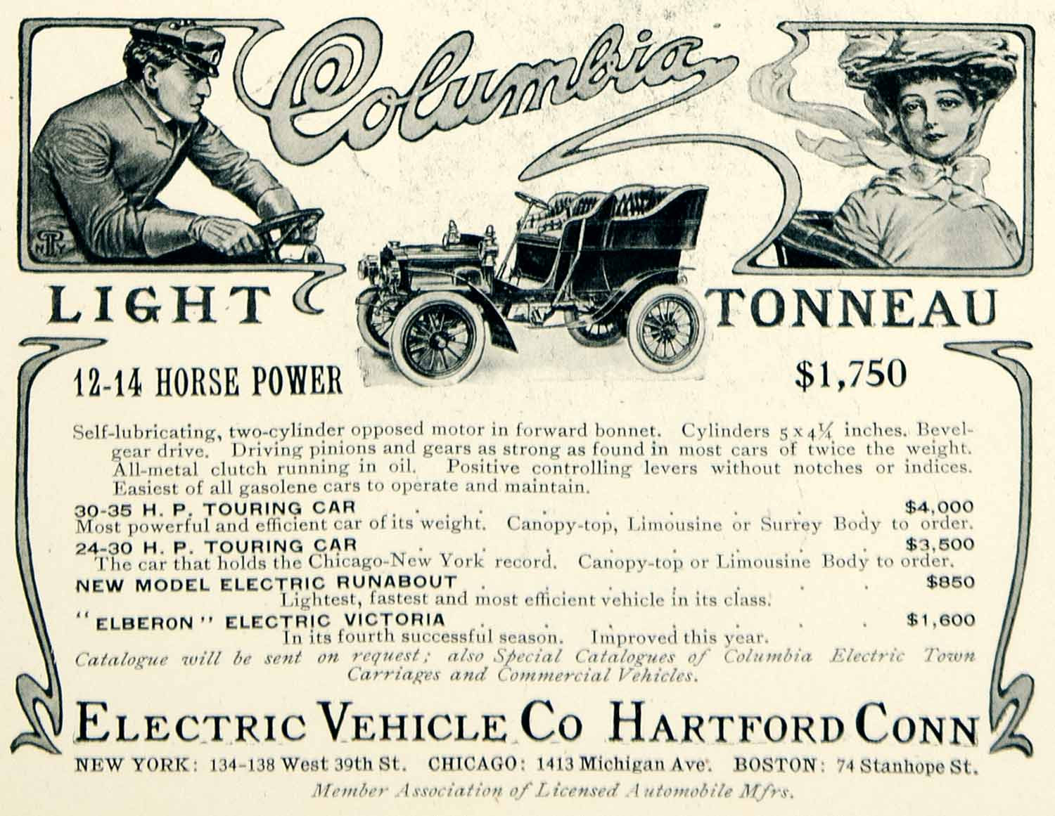 1904 Ad Electric Vehicle Columbia Light Tonneau Automobile Brass Era Car.