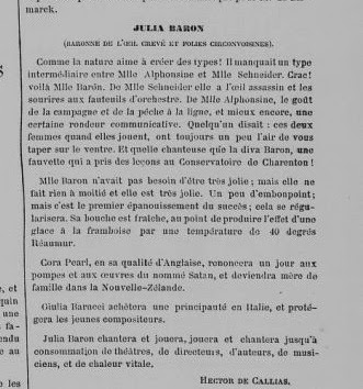 Newspaper report on Julia Baron, 1868.