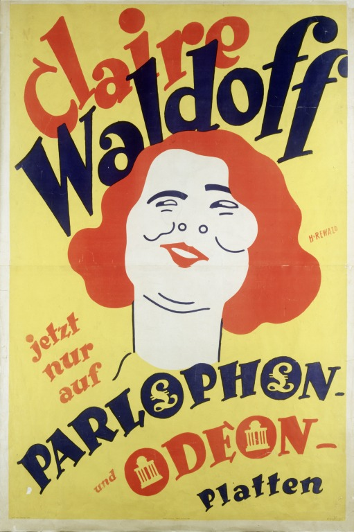 Advertisement for Claire Waldoff records from the 1920s.