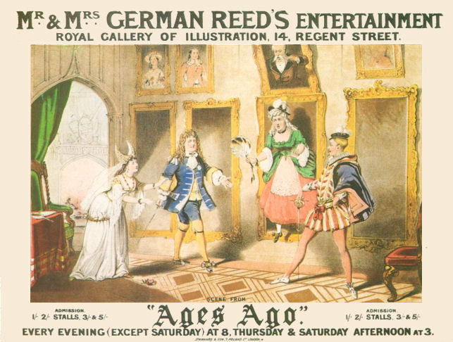 "Theatre poster showing a scene from ""Ages Ago"" by W. S. Gilbert and Frederic Clay. The play was presented as one of the German Reed Entertainments at the Gallery of Illustration, 1869."