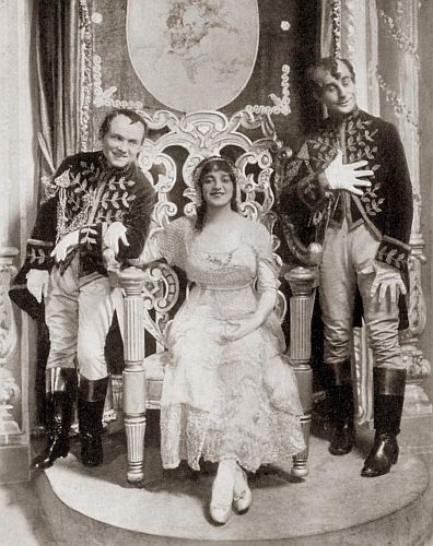 "Elsie Janis as Cinderella with David C. Montgomery as Punks and Fred A. Stone as Spooks, in Victor Herbert's ""The Lady of the Slipper,"" Globe Theatre, New York, 1912."