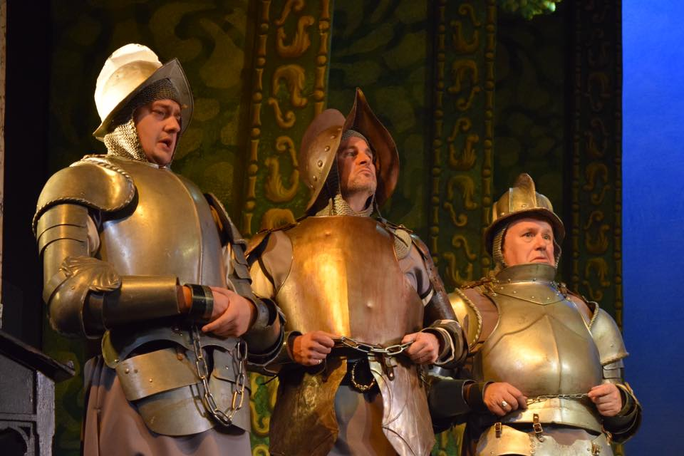 Arac, Guron and Scynthius (Ida's three brothers) in real armour. (Photo: National Gilbert & Sullivan Opera Company)