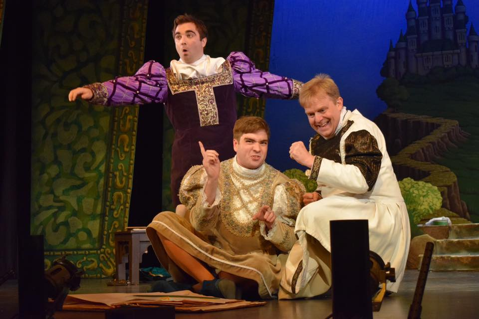 Men in tights: Matthew Kellett (Florian), Laurie Slavin (Hilarion) and Nick Sales (Cyril). (Photo: National Gilbert & Sullivan Opera Company)