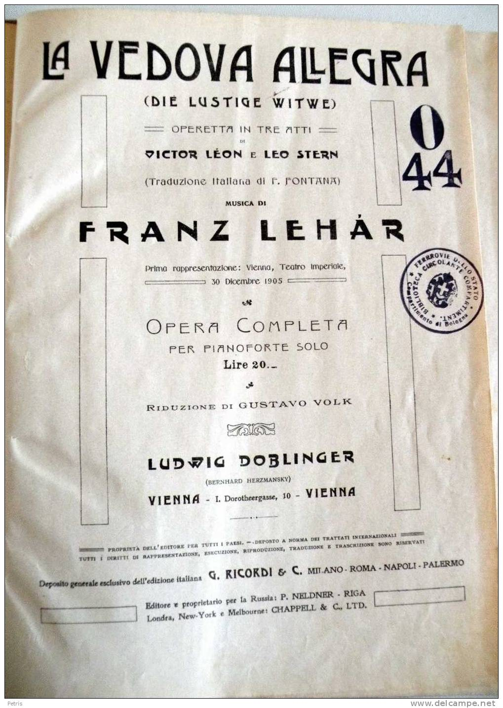 "Sheet music cover for Lehár's ""La Vedova Allegra,"" i.a. ""The Merry Widow"" in Italian. (Photo: Judith Wiemers)"